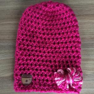 Beanie roze lichtroze strik
